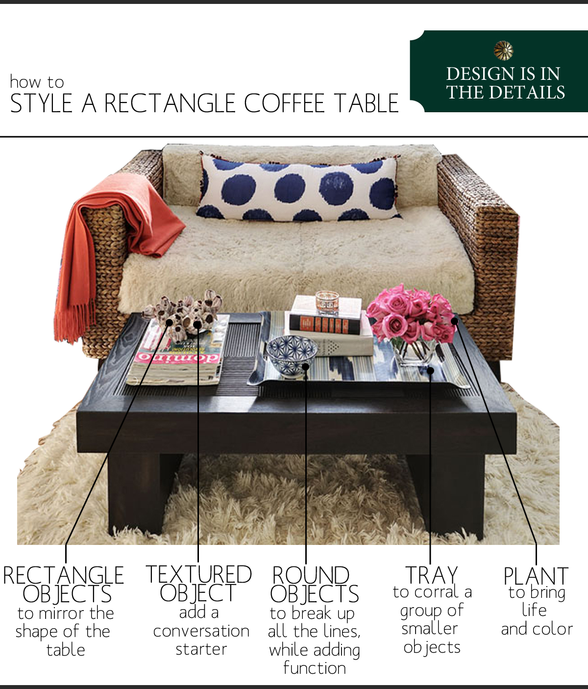 How To Style A Coffee Table how to style a rectangle coffee table | the anatomy of design