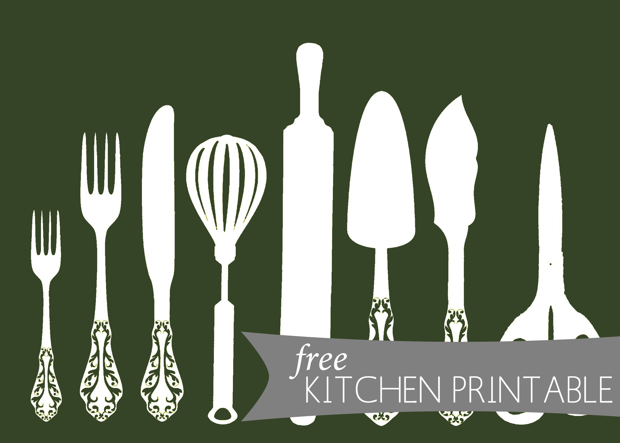 Printable kitchen art -  Kitchen Silhouette Green Copy