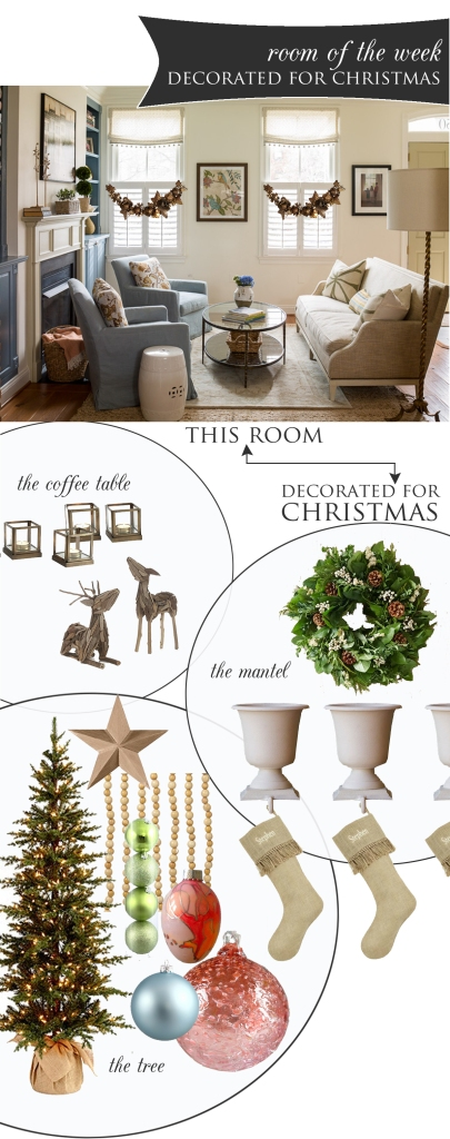 Traditional Room Decorated for Christmas | www.theanatomyofdesign.com