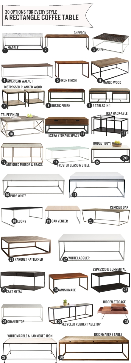 30 Rectangle Coffee Tables. One For Every Style | www.theanatomyofdesign.com