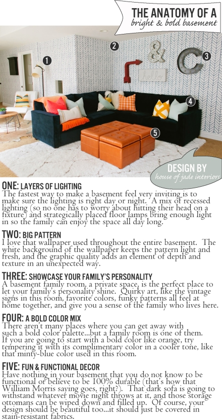 The Anatomy of a Bright Bold Basement | www.theanatomyofdesign.com