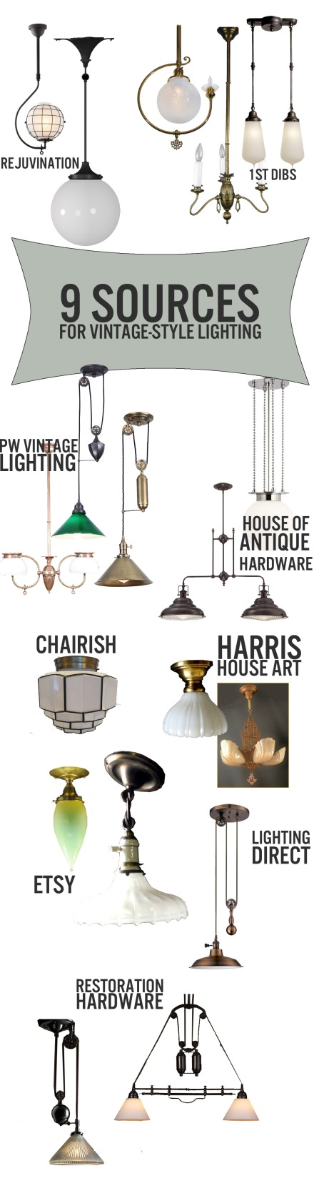 9 SOURCES FOR VINTAGE-STYLE LIGHTING | www.theanatomyofdesign.com