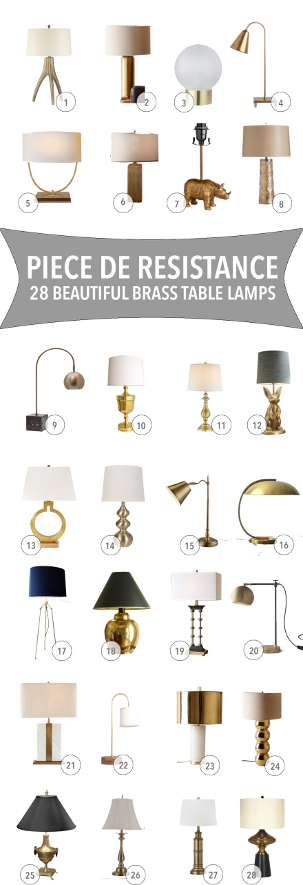 28 Beautiful Brass Table Lamps | www.theanatomyofdesign.com