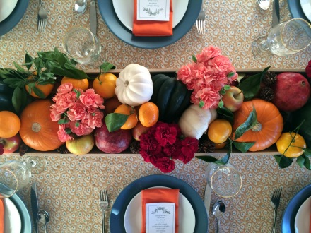 A Flower & Fruit Thanksgiving Centerpiece | www.theanatomyofdesign.com